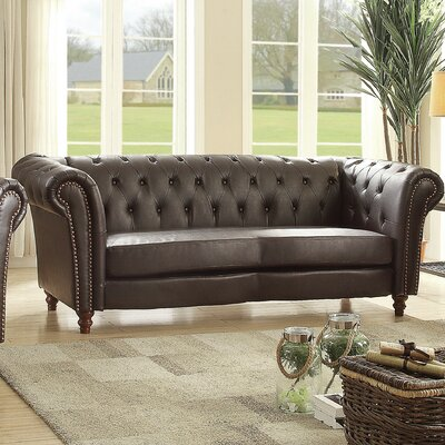 Renhold Chesterfield Rolled Arms Sofa Upholstery: Dark Brown
