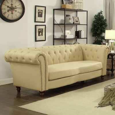 Renhold Chesterfield Rolled Arms Sofa Color: Beige