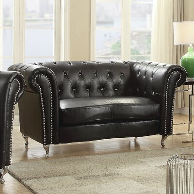 Renhold Chesterfield Loveseat Upholstery: Black