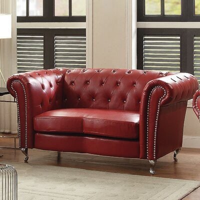 Renhold Chesterfield Loveseat Color: Red