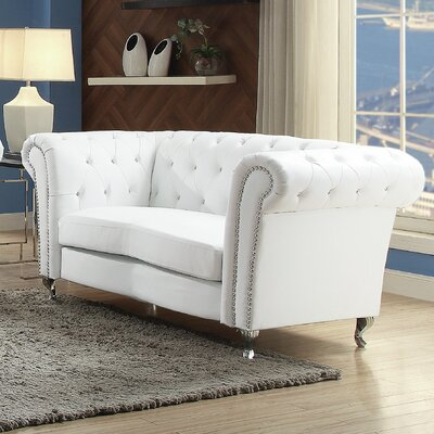 Renhold Chesterfield Loveseat Upholstery: White