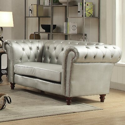 Renhold Chesterfield Rolled Arms Loveseat Upholstery: Antique Silver