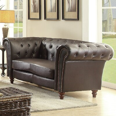 Renhold Chesterfield Rolled Arms Loveseat Color: Dark Brown