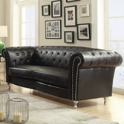 Renhold Chesterfield Sofa Color: Black