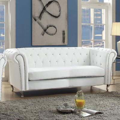 Renhold Chesterfield Sofa Color: White