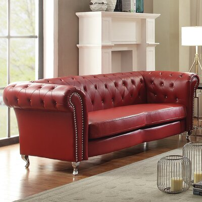 Renhold Chesterfield Sofa Color: Red