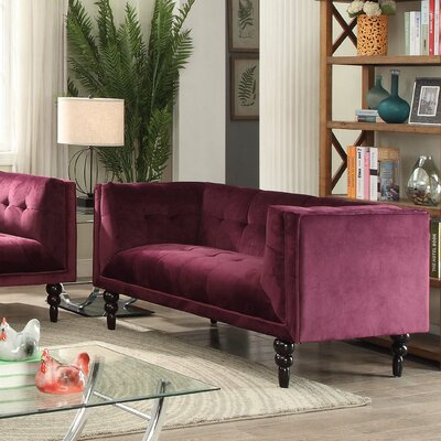Caledonia Chesterfield Loveseat Upholstery: Wine