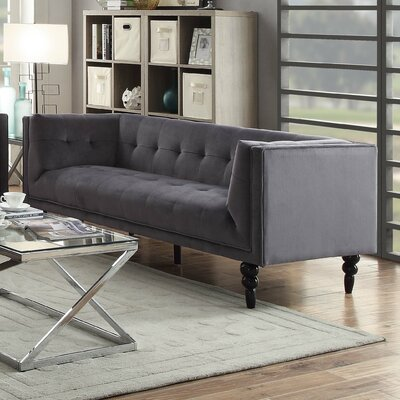 Caledonia Chesterfield Loveseat Color: Gray