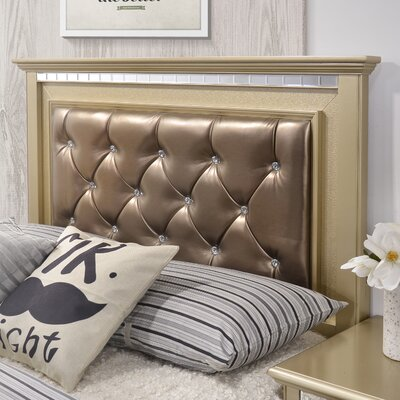 Almerton Panel Bed by Simmons Casegoods Size: Queen, Upholstery Color: Champagne