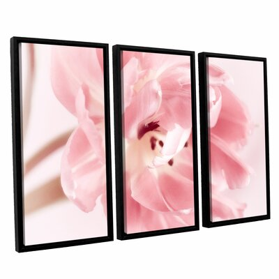 Rosy Pink Tulip IV 3 Piece Framed Graphic Art on Wrapped Canvas Set Size: 24