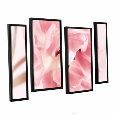 Rosy Pink Tulip IV 4 Piece Framed Graphic Art on Wrapped Canvas Set Size: 24