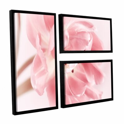 Rosy Pink Tulip IV 3 Piece Framed Graphic Art on Wrapped Canvas Set