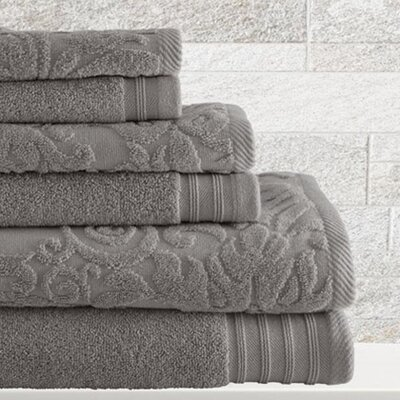 6 Piece Cotton Towel Set Color: Platinum