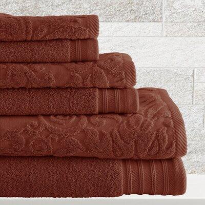 6 Piece Cotton Towel Set Color: Cinnamon