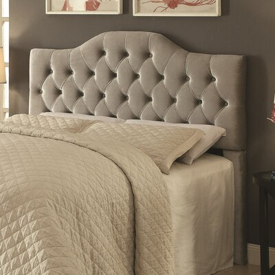 Amy Upholstered Panel Headboard Size: Full/Queen, Upholstery: Gray