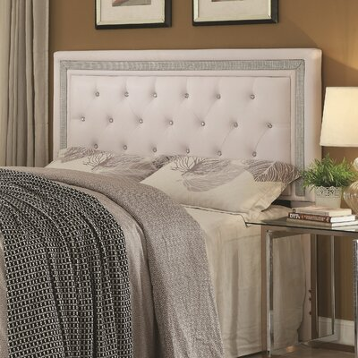 Anamaria Upholstered Panel Headboard Size: King/California King, Upholstery: White/Lilac Hue