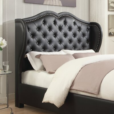Churchill Upholstered Wingback Headboard Color: Black, Size: Queen