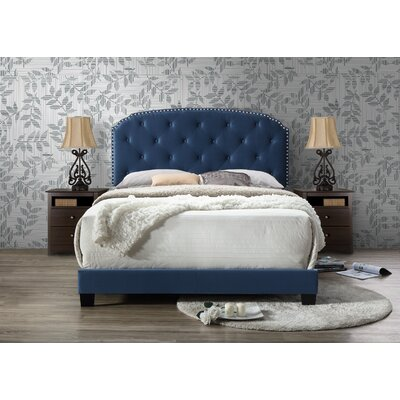 Gerwig Queen Upholstery Platform Bed Upholstery: Blue