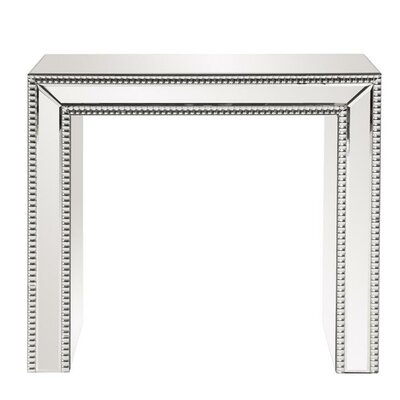 Alcyone Beaded Glass Trimmed Mirrored End Table