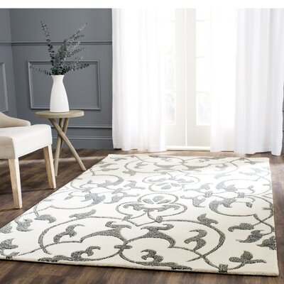 Rhona Hand-Tufted Ivory/Grey Contemporary Area Rug Rug Size: Rectangle 76 x 96