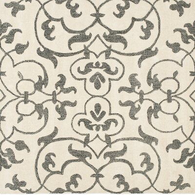 Rhona Hand-Tufted Ivory/Grey Contemporary Area Rug Rug Size: Square 6