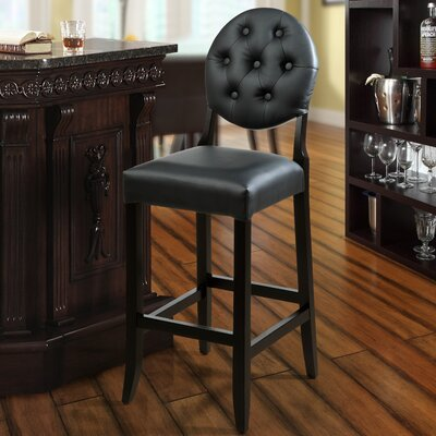 Courtnay Traditional 29 Square Seat Bar Stool Upholstery: Black