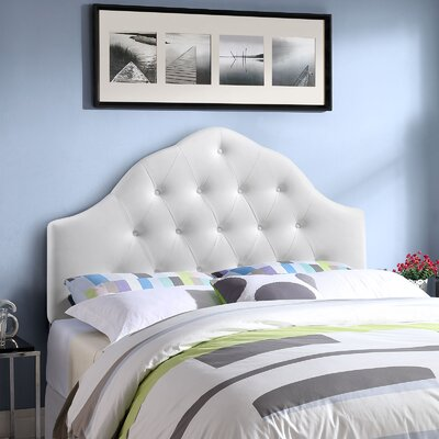 Joao Traditional Upholstered Panel Headboard Upholstery: White, Size: Full