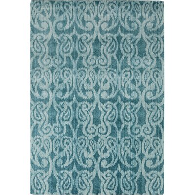 Vivienne Machine-Woven Teal/Light Gray Ikat Area Rug Rug Size: Rectangle 22 x 3