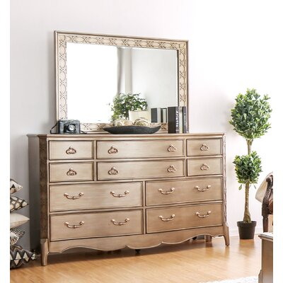 Cedric 10 Drawer Dresser with Mirror