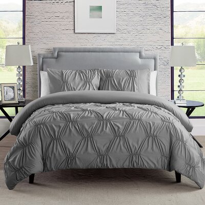 Cassian 3 Piece Reversible Comforter Set Color: Gray, Size: Full