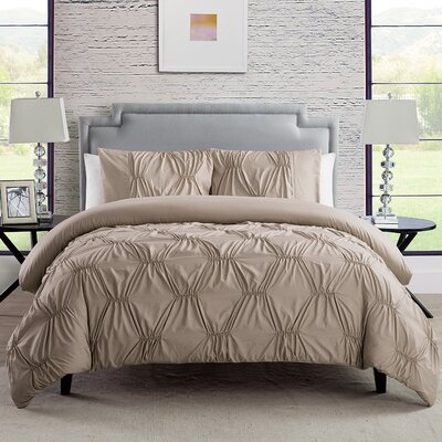 Cassian 3 Piece Reversible Comforter Set Color: Taupe, Size: Full