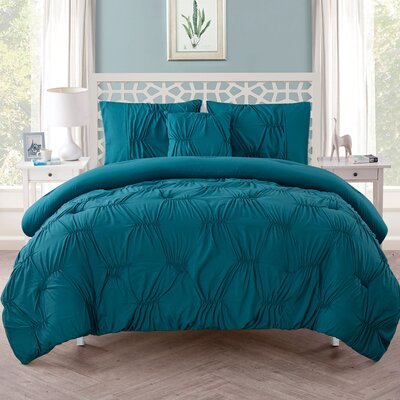 Cassian 3 Piece Reversible Comforter Set Size: King, Color: Turquoise