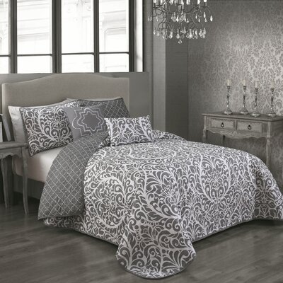 Rupert 5 Piece Reversible Quilt Set Color: Grey, Size: King