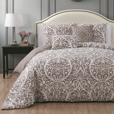 Rupert 5 Piece Comforter Set Size: King, Color: Taupe