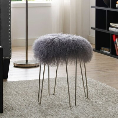 Crediton Sheepskin Stool Color: Gray