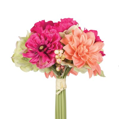 Polyester Poppy and Dahlia Mixed Stem