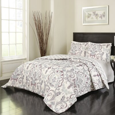 Greta 3 Piece Reversible Comforter Set Size: King
