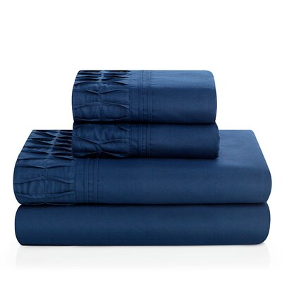 Redmayne 4 Piece Sheet Set Color: Navy, Size: Queen