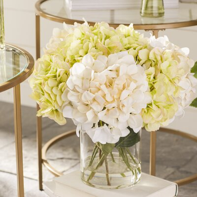 Faux Green & White Hydrangeas in Glass Vase WLAO2035 40854675