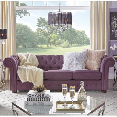 Vegard Tufted Chesterfield Sofa Upholstery: Purple