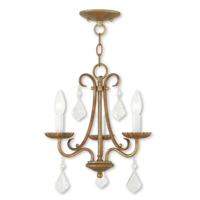 Devan 3-Light Semi Flush Mount Finish: Antique Gold Leaf