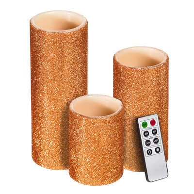 Glitter Battery Operated LED 3 Piece Flameless Pillar Candle Set Color: Copper