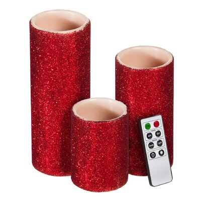 Glitter Battery Operated LED 3 Piece Flameless Pillar Candle Set Color: Red
