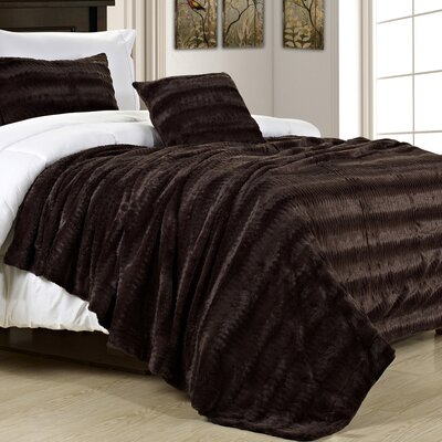 Florencio Luxe Mink Fur Throw Blanket Color: Chocolate, Size: King