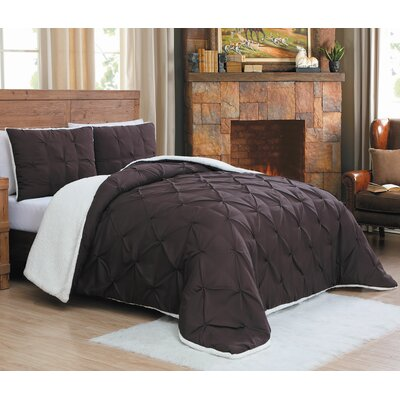 Diana Comforter Set Size: Queen, Color: Chocolate
