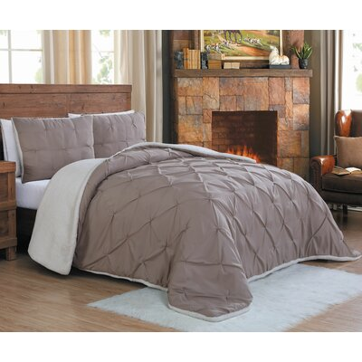 Diana Comforter Set Size: Queen, Color: Taupe
