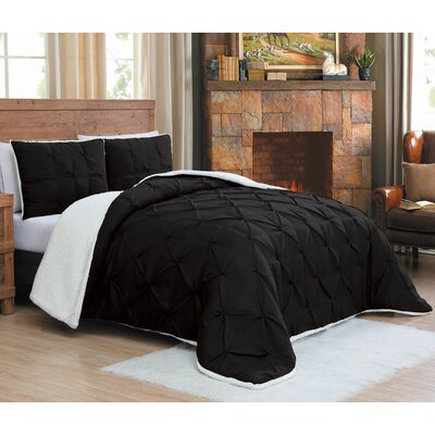 Diana Comforter Set Size: Queen, Color: Black