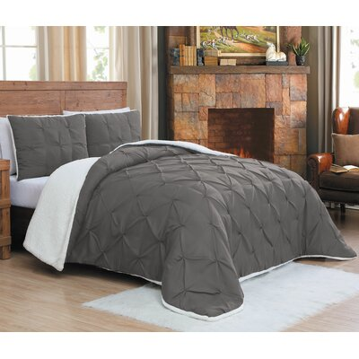 Diana Comforter Set Size: Queen, Color: Gray