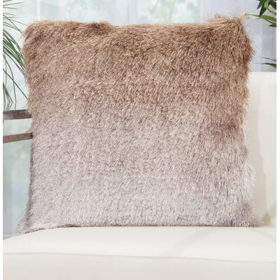 Rosia Shag Throw Pillow Color: Beige/Silver