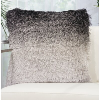 Rosia Shag Throw Pillow Color: Black/Silver